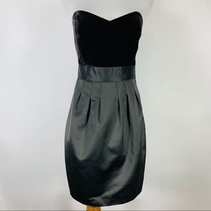 Theory Brown Velvet Satin Strapless Cocktail Dress